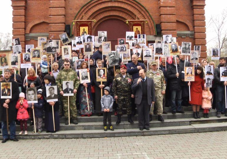Ежегодный строевой смотр учащихся и Бессмертный полк приуроченный к Дню Победы
